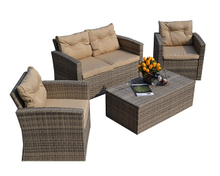 PAS-1225B/Hot Selling 4PCS Wicker Patio Poly Import Rattan Garden Casual Furniture Sofa Set
