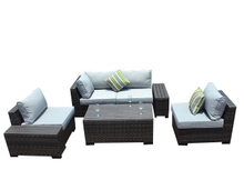 PAS-1106B/Modern Outdoor Plastic Wood Sectional Sofa Set with Cushion