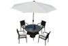 PAD-087/4 Seats Leisure Round Outdoor Garden Dining Set with Umbrella Hole