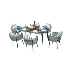 PAD-1649B/ 6 Seat Outdoor Patio And Garden Dinning Set with Cushions