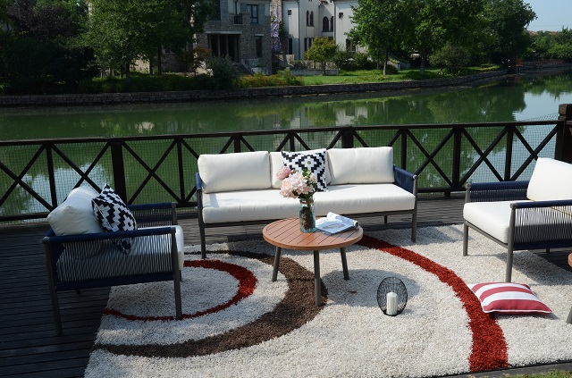 Aluminum Patio Rope Sofa Set with Two Coffee Table