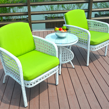White Rattan Outdoor Dining Set Round Table And Two Chairs