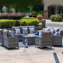 Garden Rattan Sofa Combo with Gas Fire Pit Table
